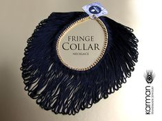 Black Silk Fringe Collar Necklace by Karman Jewelry.