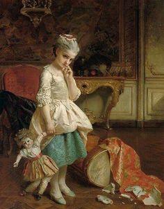 Henry Guillaume Schlesinger, Un petit faux pas, 1886, private collection, oil on canvas, cm 117x91.4