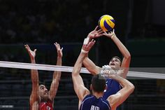 Simone Giannelli of Italy lays up the ball during the Men's Volleyball Semifinal match on Day 14 of the Rio 2016 Olympic Games at the Maracanazinho on August 19, 2016 in Rio de Janeiro, Brazil.