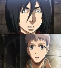 """Hahaha (I saw a comment when repinning this that I couldn't resist to share: """"Mikasa looks like Nicholas Cage."""" xDDD)"""