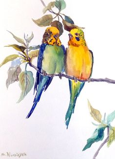 Parakeets, original watercolor painting, parrot painting, watercolor birds, 9 X 12