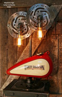 Steampunk Industrial Lamp, Harley Davidson Motorcycle Gas Tank #385