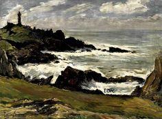 """Emile Simon (1890-1976) ~ """"La Côte du Créac'h, Ouessant"""" ~ Huile sur Toile 60 x 81cm ~ Collection du Musée Départemental Breton Quimper"""