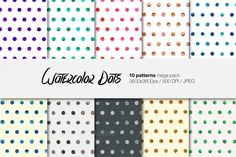 Watercolor Dots patterns pack by MediaLab on @creativemarket