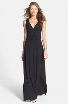 Loveappella V-Neck Stretch Knit Maxi Dress (Regular & Petite) | Nordstrom