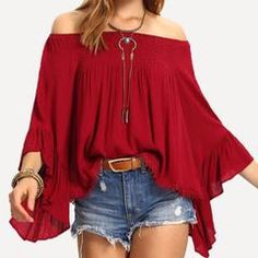 Red Butterfly Sleeve Slash Neck Women Loose Tops