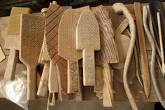 """Paddle tools used to slap the coil built vessel walls at the Nakazato Tarouemon studio. This clay forming method is called """"tataki giho"""", a traditional method that was lost but revived by the late living national treasure, Nakazato Tarouemon XII."""