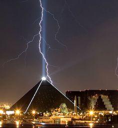 Lightning Strikes Luxor Hotel, Las Vegas, Nevada