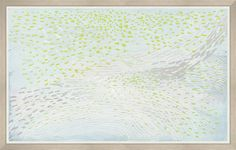 With the whimsical feel of leaves on the breeze, this large-scale abstract wall hanging focuses on light and movement. Delicately etched lines flow through flecks of color in a summer-sky palette of pastel blues, greens, and greys. • View our shipping information and policy for custom  furniture. • Made in the USA.