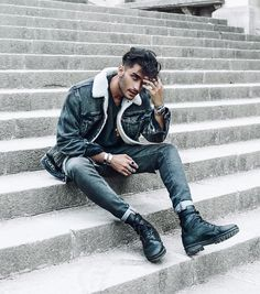 Toni Mahfud - Man in Sheepskin Shearling Denim Jacket Toni Mahfud, Portrait Photography Men, Photography Poses For Men, Male Fashion Photography, Photography Quotation, Street Photography, Circus Photography, Shape Photography, Photography Terms