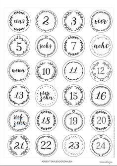 Adventskalenderzahlen zum Ausdrucken * Printable, Freebie für den selbst gemachten DIY Adventskalender ' modernes Design *