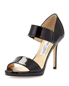Alana Patent Double-Band Sandal, Black by Jimmy Choo at Neiman Marcus.