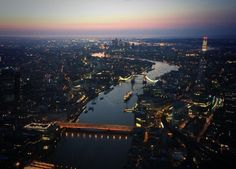 London at sunrise from above