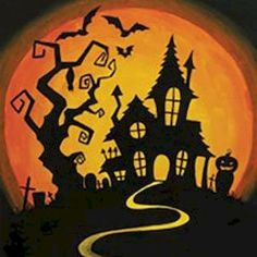 Social Artworking Canvas Painting Design - Hilltop Haunt Trick-or-treaters might be a little hesitant to knock on the door of this creepy mansion. With its resident bats flying around and its own cemetery, it doesn't seem welcoming to visitors. Casa Halloween, Halloween Rocks, Halloween Tags, Halloween Haunted Houses, Holidays Halloween, Vintage Halloween, Halloween Crafts, Halloween Decorations, Halloween Designs