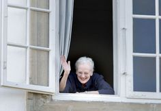 danishroyalfamily:  Queen Margrethe's 75th Birthday, April 16, 2015-Queen Margrethe waves to family and friends who came to wake her on her birthday morning