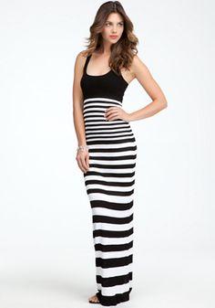 bebe   Racer Neck Stripe Maxi Dress - Maxi Dresses