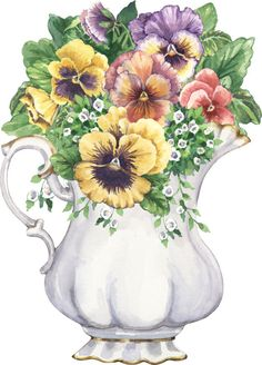 White jug of pansies