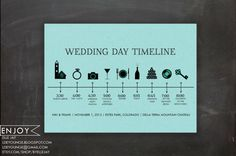 wedding program: custom timeline - digital printable file (color paper version) - icon, events, schedule
