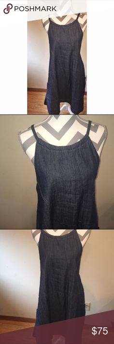 Free People Blue Jean Baby Dress Contrast stitching adds subtle detail to this relaxed Free People denim dress. Patch front pockets. Split hem. Sleeveless. Unlined. Fabric: Denim. 100% cotton. Wash cold or dry clean. Gently worn and in great condition -- perfect for spring! Free People Dresses