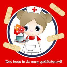 Een baan in de zorg by GIJNig - Felicitatiekaarten - Kaartje2go - zuster - nieuwe baan - gefeliciteerd -  pleister - Esther van Gijn - Ontwerp Studio GIJNig