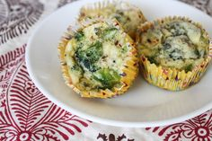 Cheesy Broccoli Egg Muffins from The Fitnessista. protein-packed and a great on-the-go breakfast/snack!