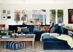dark blue couch and boho vibe #boho #bohemian #decor #casa #celeb