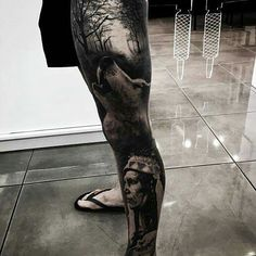 Wolf native Indian thigh tattoo