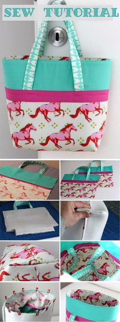Simple shopping Bag ~ Sewing projects for beginners. Step by step sew tutorial. Sewing Hacks, Sewing Tutorials, Sewing Crafts, Sewing Tips, Bags Sewing, Sewing Ideas, Tote Bag Tutorials, Sewing Basics, Free Tutorials