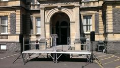 stage platform w. lectrum & PA system for speeches, by www.24carrotevents.co.uk