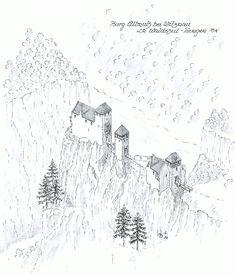 Burg Allmuth Fantasy Town, Fantasy Castle, Medieval Fantasy, Medieval World, Medieval Castle, Castle Layout, Fantasy Map Making, Castle Illustration, Castle Drawing