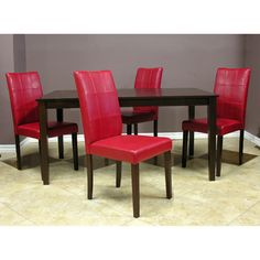 $378 - Warehouse of Tiffany Evellen Red Dinning Set (Set of 5) - Table dimensions: 29.1 inches high x 29.5 inches wide x 47.2 deep