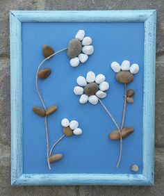"Pebble Art (Bunch of White Flowers) set on brilliant blue background in a reclaimed rustic 8x10 ""open"" frame)"