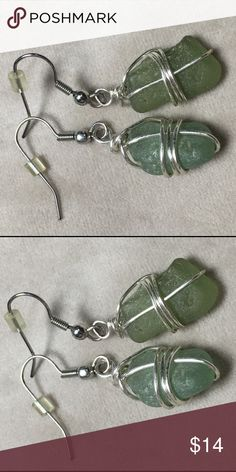 "Fashion wire wrapped sea glass earrings Pre-owned. Measures 1.5"" long. Jewelry Earrings"