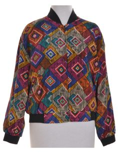 Vintage Bomber Jacket Multi-colour With Full Lining | Beyond Retro