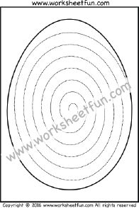 Easter Eggs – Spiral Tracing – One Worksheet