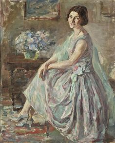 ''Lady in an interior '' by Thalia Flora-Karavia ( born in Siatista, 1871 –died in Athens, Pioneer female painter artist. Painter of the WWI and WWII. Greece Painting, Hokusai, Female Painters, Dora, Painter Artist, Cecile, Greek Art, Art Database, Chiaroscuro