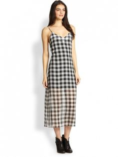 Pair with gladiator sandals and a Panama hat for the essential summer picnic look // Line Dot Ellis Sheer-Skirt Gingham Slip Dress ($115)