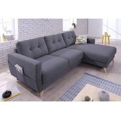 Succombez à la <b>tendance scandinave avec ce canapé d'angle 4 places</b> et donnez une <b>ambiance conviviale</b> à votre salon !<br>On aime les coussins capitonnés avec les boutons légèrement contrastés, ils donnent aussi du gonflant au dossier pour une