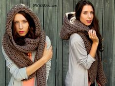 Sobredimensionada con capucha bufanda Lofty lana por SWAKCouture