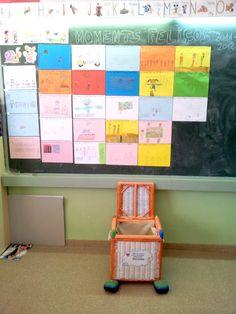 A lo largo del curso, los niños han ido llenando esa caja de mimbre, bautizada como la caja de los momentos felices. Cada vez que hacíamos algo divertido en clase, hacían un dibujo del momento para recordarlo. El penúltimo día de clase, la abrimos y releemos los momentos felices del curso.