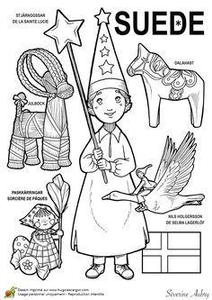 """iColor """"Little Kids Around The World"""" ~ Sweden School Coloring Pages, Colouring Pages, Coloring Books, Kids Around The World, Around The Worlds, World Thinking Day, World Geography, World Crafts, Kids Corner"""