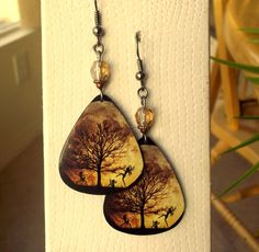 Fantasy Tree of Life / Guitar Pick Earrings by sandynejedly, $8.00