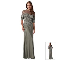 Adrianna Papell® Beaded Illusion Long Dress at www.bonton.com