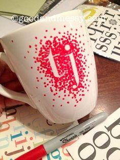 Monogrammed sharpie mug