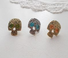 Halloween Jewelled Skull stud earrings with by RicePaperJewels on Etsy