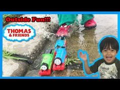 Thomas and Friends kid playing outside with Thomas Train toys James Percy Diesel 10 Ryan ToysReview - YouTube