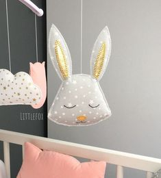 Rabbit for Mobile Baby Animals Nursery Room, Decoration, Etsy, Support, Polyester, Couture, Pillows, Gray, Baby Pets