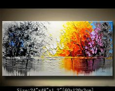 Abstract Wall Painting,Palette Knife Abstract Painting, Textured Painting,Landscape Painting ,Park Lights Painting on Canvas, by Chen 0811