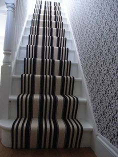 Black And White Striped Stair Carpet Runner With Treads Risers Painted In Gloss An Engineered Oak Floor Was Laid The Hall