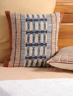 Ivory-Blue-Brown Cotton Cushion Cover#weaving #nagaland #india #handwoven
